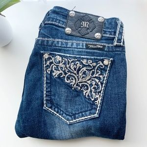 Miss Me • Crystal Pockets Blue Straight Jeans 28